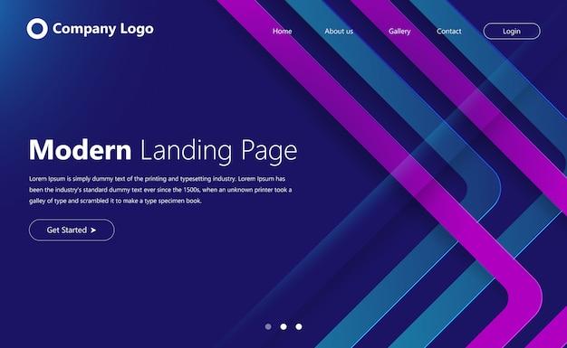 Página de inicio de desarrollo web futurista moderna o página de inicio con encabezado