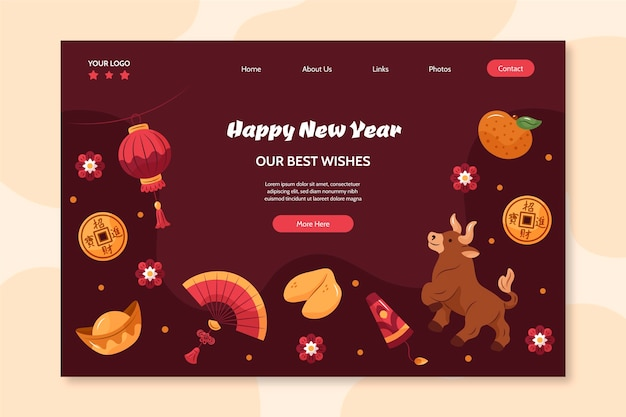 Página de inicio dibujada a mano para el año nuevo chino