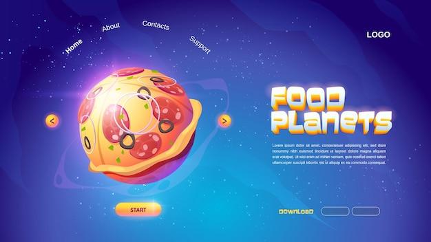 Página de inicio de dibujos animados de planetas de alimentos con esfera de pizza en el espacio ultraterrestre