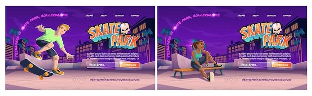 Página de inicio de dibujos animados de skate park con adolescente en rollerdrome realizar acrobacias de salto en patineta en rampas de tuberías deporte extremo graffiti cultura urbana juvenil y actividad callejera adolescente