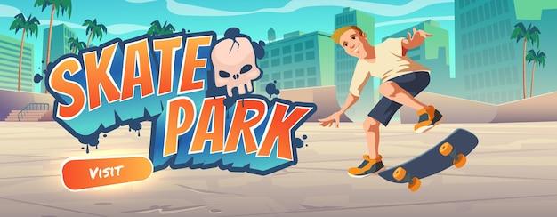 Página de inicio de dibujos animados de skate park con adolescente