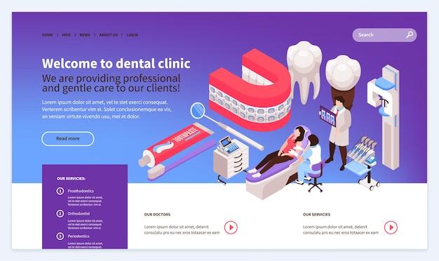 Página de inicio de diseño de plantilla de sitio web de dentista isométrico