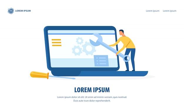 Página de inicio de diseño de servicio y reparación de computadoras