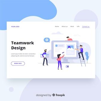 Página de inicio de diseño de trabajo en equipo