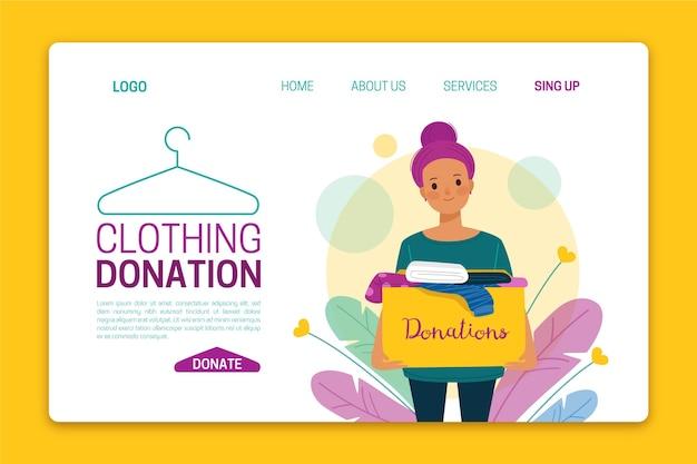 Página de inicio de donación de ropa dibujada a mano plana
