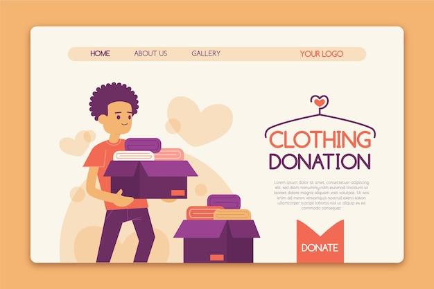 Página de inicio de donación de ropa dibujada a mano