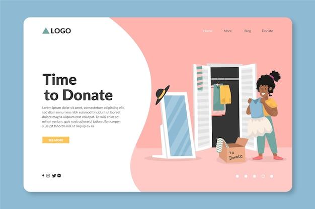 Página de inicio de donación de ropa plana