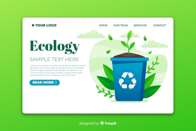 Página de inicio de ecología minimalista