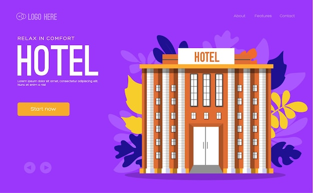 Página de inicio del edificio del hotel.