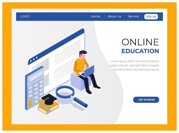 Página de inicio de educación isométrica en línea