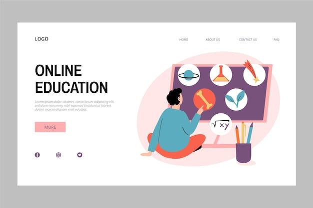 Página de inicio de educación en línea dibujada a mano