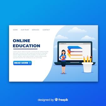 Página de inicio de educación en línea con ilustración