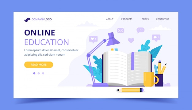 Página de inicio de educación en línea con libro abierto y una lámpara.