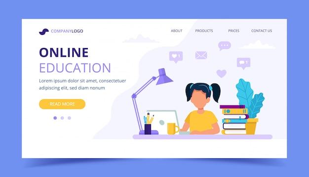 Página de inicio de educación en línea para niños.