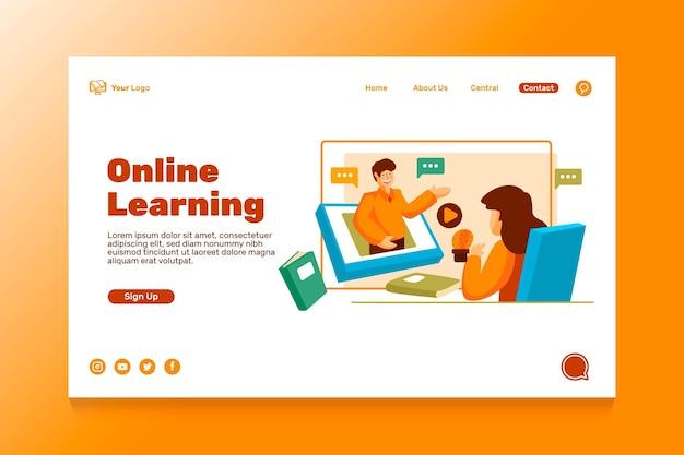 Página de inicio de educación en línea plana
