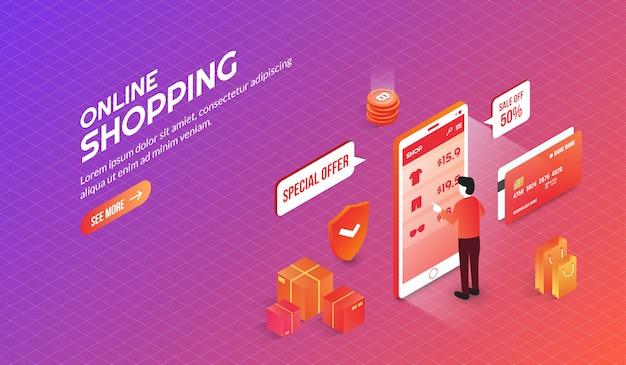 Página de inicio de elementos de compras en línea isométrica