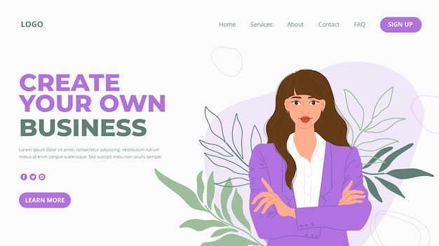 Página de inicio de empresaria vector gratuito