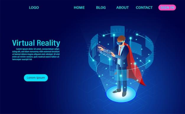 Página de inicio del empresario con gafas vr con interfaz conmovedora en el mundo de la realidad virtual