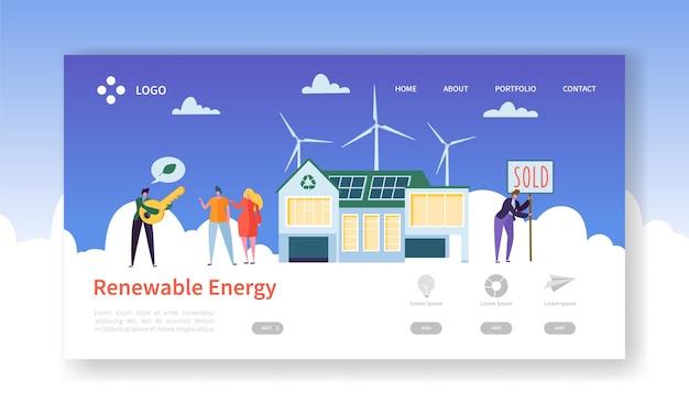 Página de inicio de energía solar y eólica renovable verde.