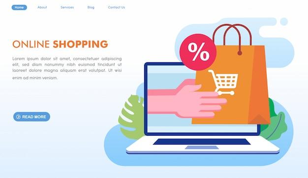 Página de inicio de entrega de compras en línea en estilo plano