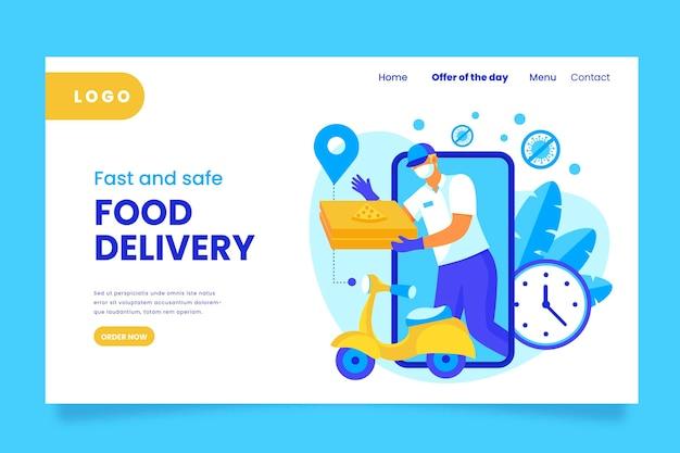 Página de inicio de entrega segura de alimentos