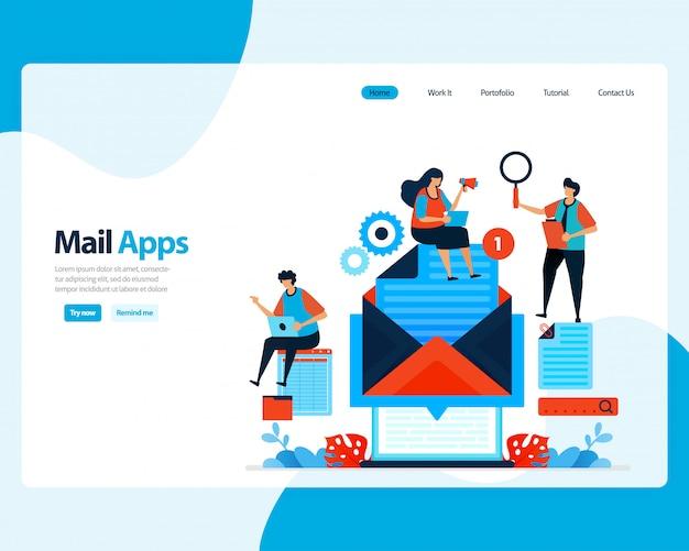 Página de inicio de envío, recepción, gestión de correo electrónico. programación de trabajo con servicios de correo electrónico comercial digital. ilustración