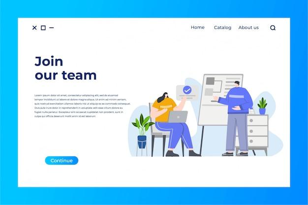 Página de inicio del equipo de negocios con ilustración plana