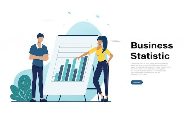 Página de inicio de estadística empresarial con carácter de personas.