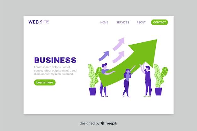 Página de inicio de estrategia comercial de crecimiento con flechas