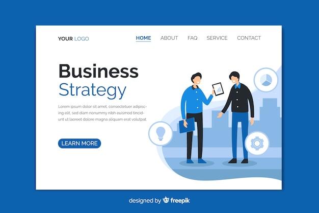 Página de inicio de estrategia comercial con personajes