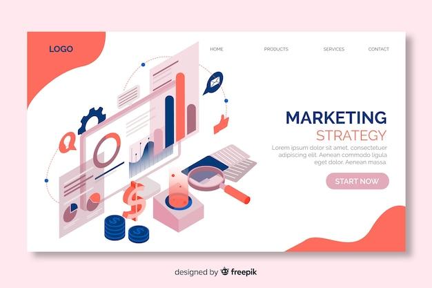 Página de inicio de estrategia de marketing en diseño isométrico