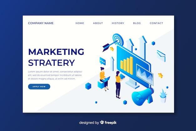Página de inicio de estrategia de marketing isométrica