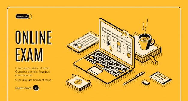 Página de inicio del examen en línea