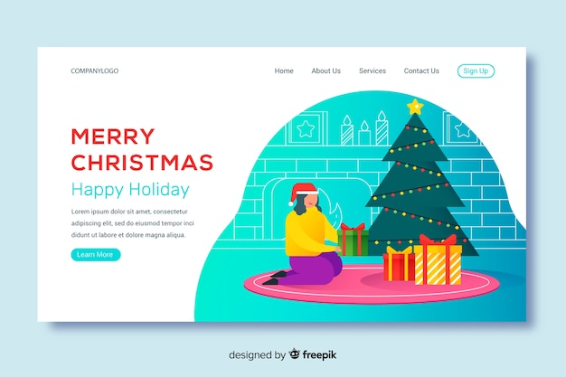 Página de inicio de feliz navidad en diseño plano