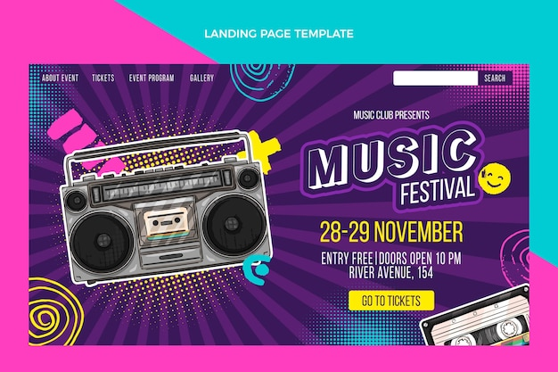 Página de inicio de festival de música colorida dibujada a mano