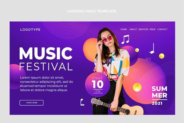 Página de inicio del festival de música colorido degradado