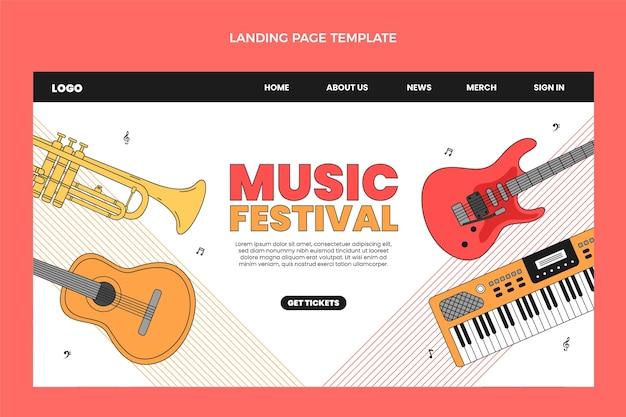 Página de inicio de festival de música minimalista plana