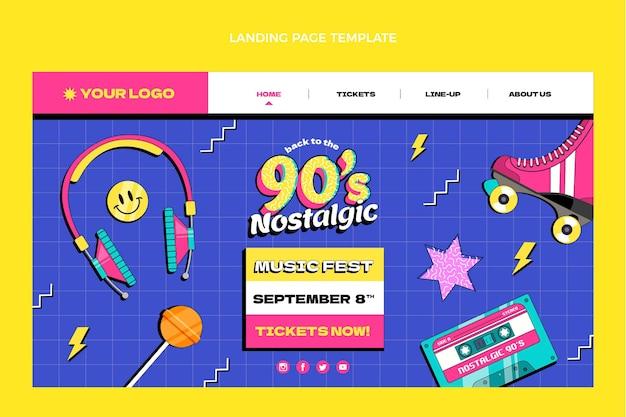 Página de inicio del festival de música nostálgica plana de los 90