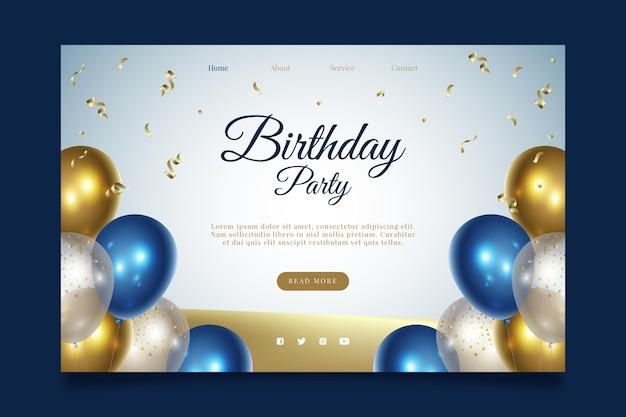 Página de inicio de la fiesta de cumpleaños feliz