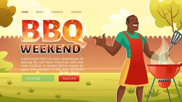 Página de inicio de fin de semana de barbacoa con hombre afroamericano en delantal cocinando en la parrilla