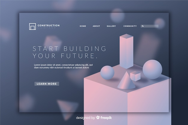 Página de inicio geométrica 3d creativa