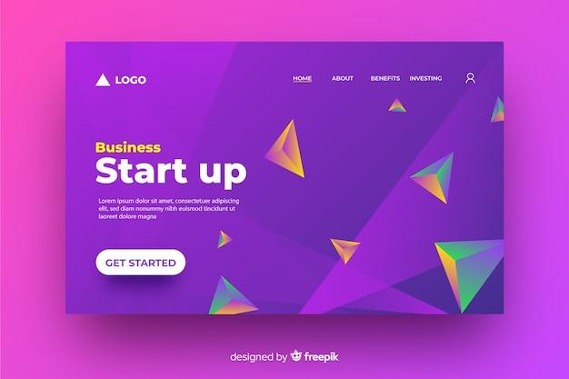 Página de inicio geométrica de inicio de negocio en 3d