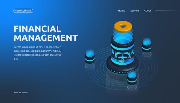 Página de inicio de gestión financiera isométrica 3d