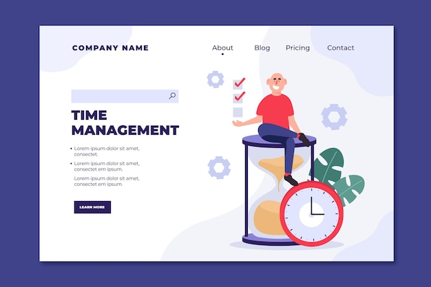 Página de inicio de gestión del tiempo dibujada a mano plana