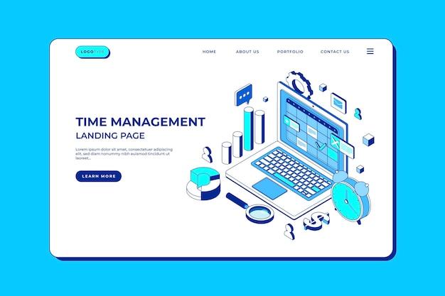 Página de inicio de gestión del tiempo de esquema isométrico