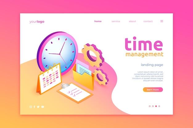 Página de inicio de gestión del tiempo isométrica