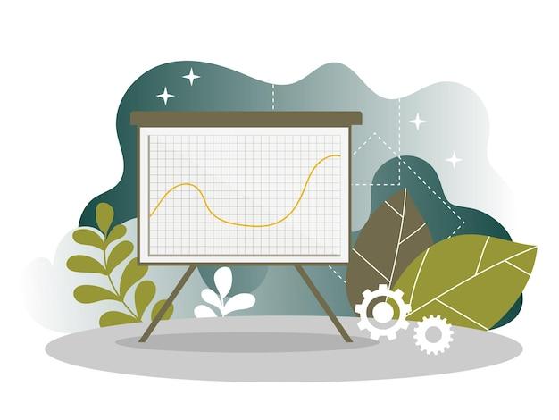 Página de inicio del gráfico del informe de análisis de marketing digital. análisis de estrategia empresarial. diseño de gráficos de análisis de mercado de internet para sitio web o página web. ilustración vectorial plana
