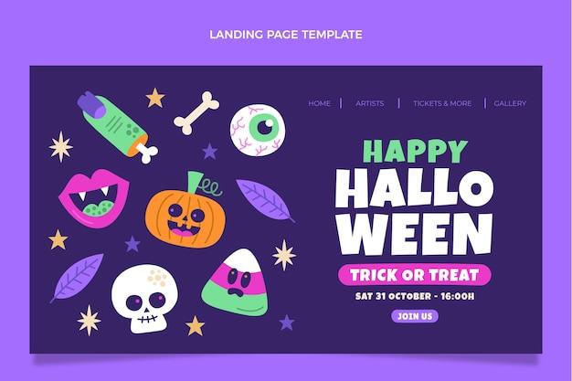 Página de inicio de halloween de diseño plano dibujado a mano
