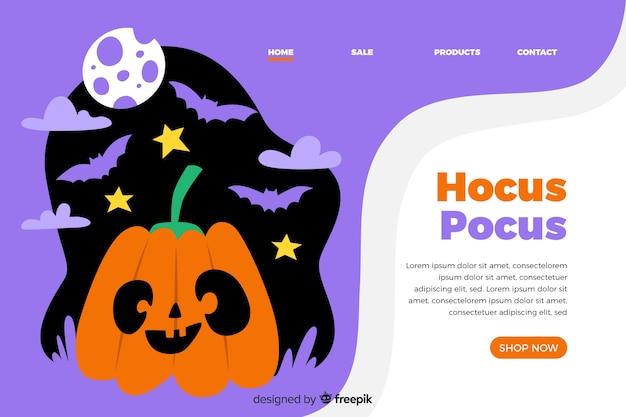 Página de inicio de halloween de diseño plano