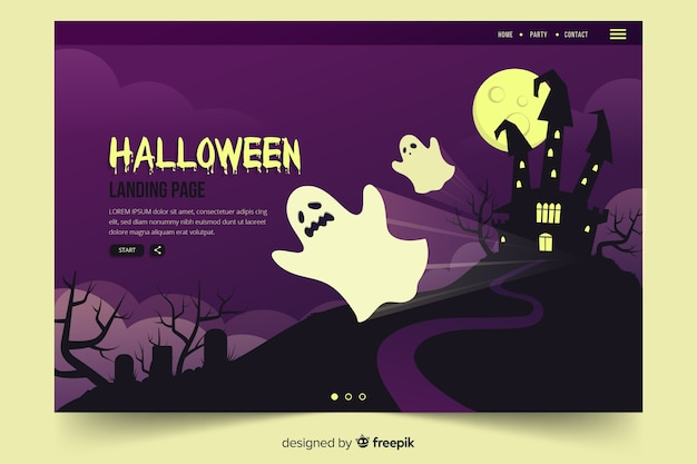 Página de inicio de halloween plana con casa embrujada